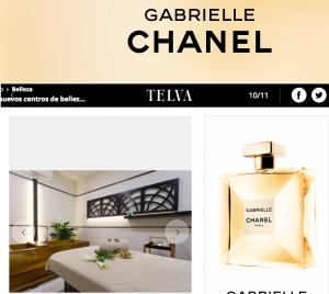 Foto de un articulo mencionando Wellness boutique Experience en la web de Telva. Aparece una foto de una de las lujosas cabinas de tratamiento de Wellness Boutique al lado de la foto aparece un frasco de perfume de la marcha chanel. en la parte superior aparece el logotipo de Chanel en negro sobre fondo dorado