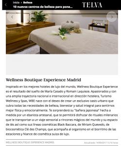 Articulo de la revista Telva donde describen una experiencia en Wellness Boutique Experience Madrid. En la parte superior aparece una foto de una cabina moderna y elegante, y por debajo, el texto explicativo