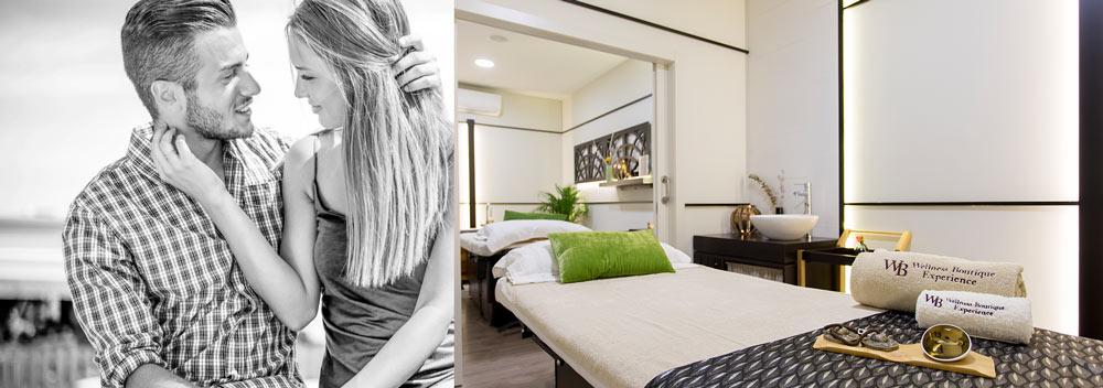 cabina doble para masajes, tratamientos faciales o rituales en pareja